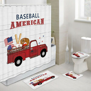 Red Truck and Baseball Shower Curtain Toilet Cover Rug Mat Contour Rug Set