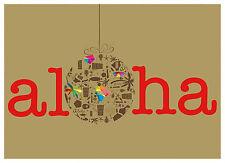 6 Hawaiian Holiday Cards - HAWAII Christmas - Holiday Aloha Hawaiian Ornament