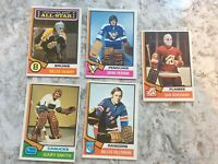1974-75 OPC Hockey 5 Card Lot of GOALTENDERS nrmt++