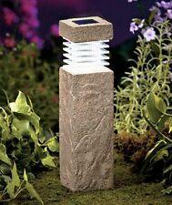 "Concrete Look 11"" Solar Garden Pillars Pathway Driveway Lights Garden.Patio. LED"