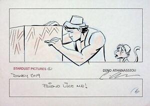 ALADDIN 2019 Signed DINO ATHANASSIOU Hand Drawn Storyboard Page WALT DISNEY #AD