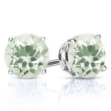 2.50 Ct Round Green Amethyst 925 Sterling Silver Stud Earrings 7mm