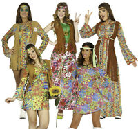 Womens Hippie 60s 70s Hippy Costumes Ladies Flower Fancy Dress Adult Outfit