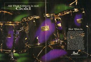 1995 2pg Print Ad of Pearl Masters Gold Series Purple Mist Drum Kit