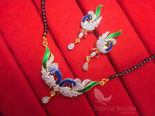 MS851 Multi Colour Daphne Zircon Peacock Meenakari Mangalsutra for Women, Gif...