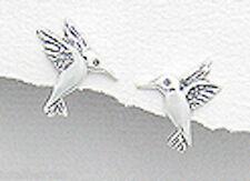 Sterling Silver 14mm Hummingbird Stud Earrings + Premium Heavy Duty Backs 1.7g