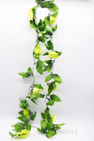 8ft Rose Flower Ivy Vine Silk Flowers Hanging Garland Plant Wedding Home Decor