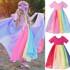 Kids Girls Swing Skater Dress Rainbow Short Sleeve Birthday Party Tutu Dresses