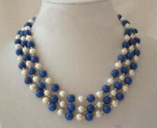 "3 Rows Real White Pearl lapis lazuli Clasp Necklace 17""-19"" AAA"