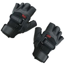 Pair of Black Stylish Leather Fingerless Gloves For Men Z1O3