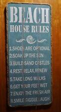 Beach House Rules Wood Plank Sign Rustic Coast Seaside Ocean Blue Home Decor NEW