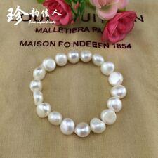 Barocke perle Armband, 10-11mm weiß Süßwasser Perle stretch Armband