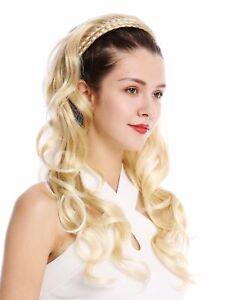 Half Wig Hair Piece Noble Braided Headband Very Long Wavy Blonde Streaked