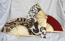 Batik Fan - Bamboo and Fabric - Hand Made, Each One Unique - New