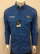 NWT Wrangler FORD Blue Logo Rodeo Western Embroidered Long Sleeve.(L) Shirt
