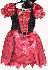 Hexenkostüm ROT/SCHWARZ Hexe Kostüm Halloween Fasching Kleid 110-128 5-8 Jahre