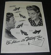Print Ad 1943 FOOTWEAR Women's Vitality Shoes ART Go Places WW ll Fashion Style