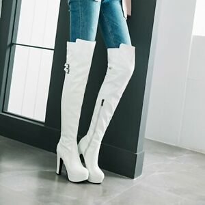 Sexy Ladies Over The Knee Thigh High Boots Block High Heels Platform Shoes Party