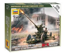 Zvezda DE RUSIA 37-mm AA Gun & Crew Maqueta plástico en Kit - 1/72 Escala - 6115
