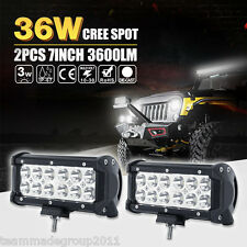 2x 7INCH 36W CREE LED WORK LIGHT BAR SPOT OFFROAD DRIVING LAMP 4WD ATV SUV FLOOD
