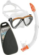 Cressi Lince Mask and Gamma Snorkel Combo Package Orange/Silver Snorkeling Dive