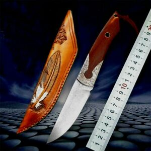 Handmade Straightback Knife Hunting Tactical Combat Damascus Steel Wood Handle S