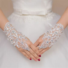 New WHITE Crystal Wedding Bridal Glove Accessory Beaded Lace Fingerless Gloves