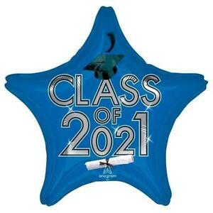 Class of 2021 Blue Graduation Balloon Foil Mylar 19 Inch New