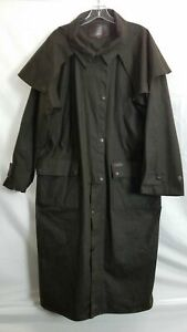Outback Trading Company Brown Denim Trench Coat Mens Sz L