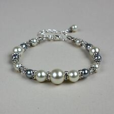 Vintage ivory cream grey pearls beaded bracelet silver wedding bridesmaid gift
