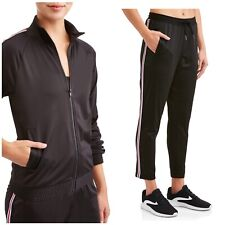 1b4f09640859 NWT WOMANS Plus Athletic Works Track Set Jacket Pants Black Size 2X New