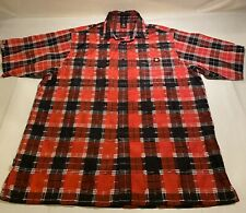 Lowrider Sz XL Red/Black Plaid S/S Polyester Blend Button Up Casual Shirt