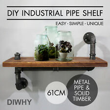 Industrial Wall Shelves Rustic Pipe Storage Shelving Vintage Bookshelf Decor 24""