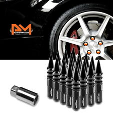 M12X1.5 Black JDM Spiked Cap Hex Wheel Lug Nuts+Extension 20mmx123mm Tall 20Pc