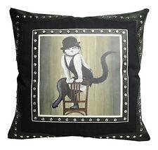 Cooles Lederimitat Kissen JAZZ CAT mit Nieten Katze 45 x 45 cm schwarz NEU