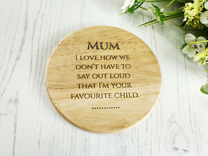 Wooden Engraved Coaster - Gift for Mum