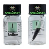 Iodine element 53 sample 2g in ampoule inside labeled glass vial pure 99.99%
