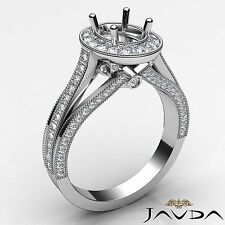 Oval Semi Mount 0.9Ct Diamond Engagement 18k White Gold Halo Pave Millgrain Ring
