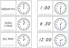 TIME/CLOCKS DOMINOES MATHS Educational teacher resource