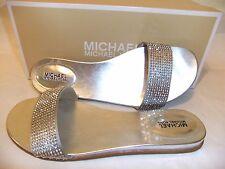MICHAEL KORS Eleanor Silver Rhinestone Slide Sandal Size 9.5 EU 40.5 NIB $90