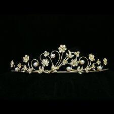 Gold Bridal Flower Rhinestone Crystal Pearl Wedding Crown Tiara 8295