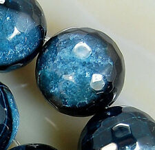 12mm Faceted Black DodgerBlue Druzy Agate Round Beads 16pcs