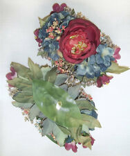 "1 Victorian Artificial Silk Flower 4"" x 7""  Head Hair Clip Craft"