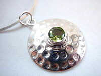Natural Faceted Peridot Hammered Circle 925 Sterling Silver Pendant New round