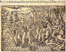 """Leclerc's Bible Figures - Woodcut - """"DAVID PLAYS HIS HARP FOR SAUL"""" -1614"""