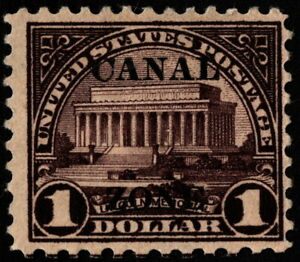 Canal Zone - 1924 - $1.00 Violet Brown Lincoln Memorial w Type A Overprint # 81