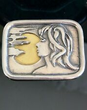 Vintage Sterling Silver Repousse Modernist Women's Silhouette In Sun Brooch/Pin