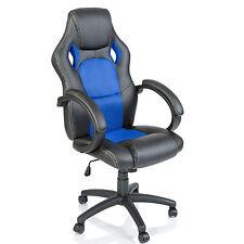 TRESKO® Sedia da ufficio girevole per casa Poltrona ufficio Racing Blu