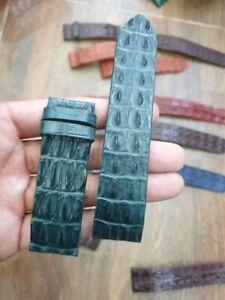 24mm-22mm dark green Genuine-HORNBACK CROCODILE-SKIN-WATCH-STRAP-BAND