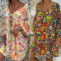 Plus Size Women Off Shoulder Floral Print Long Sleeve Irregular Casual Dress